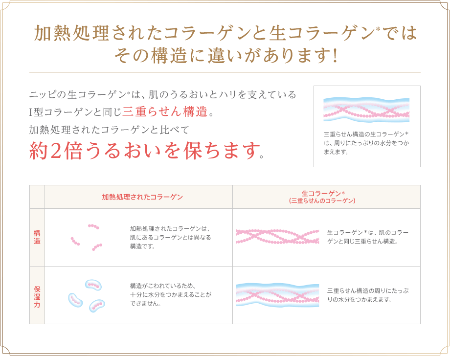 加熱処理されたコラーゲンと生コラーゲンではその構造に違いがあります!