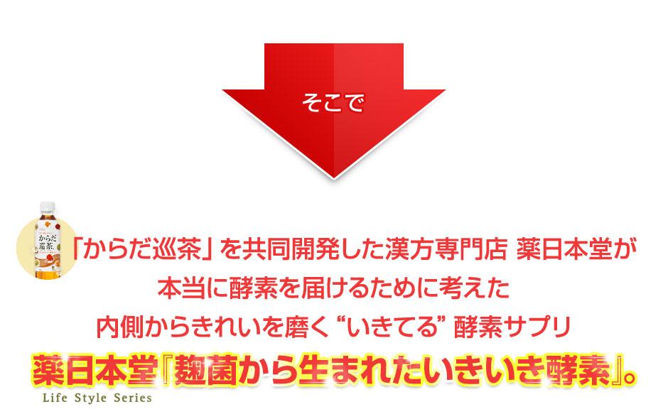 薬日本堂『麹菌から生まれたいきいき酵素』。