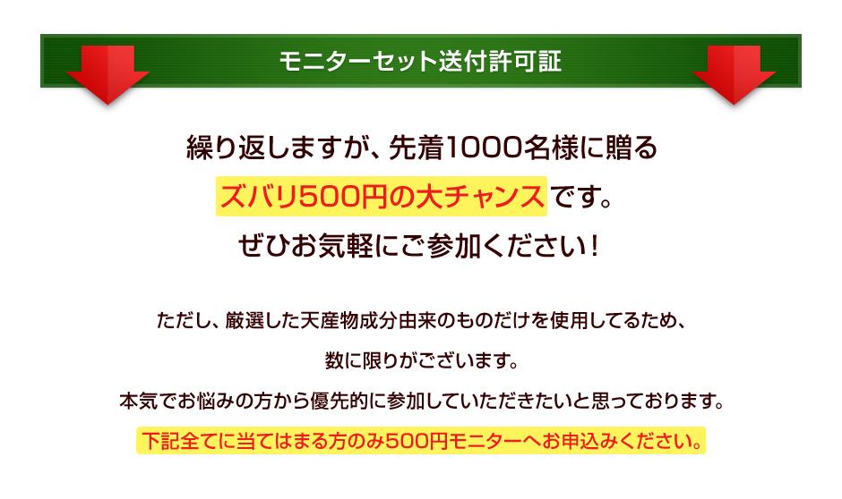 下記全てに当てはまる方のみ500円モニターへお申込みください