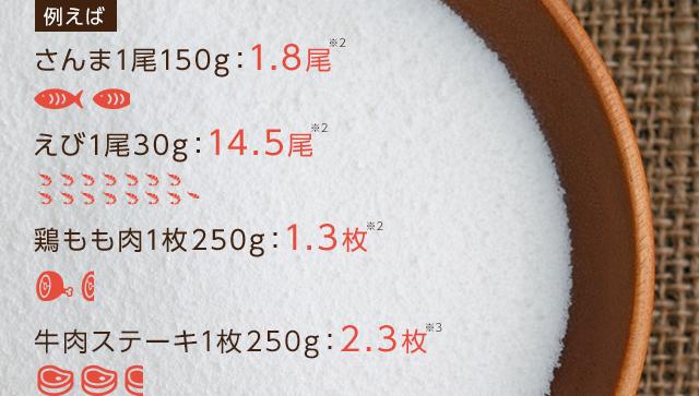 例えばさんま1尾150g:1.8尾