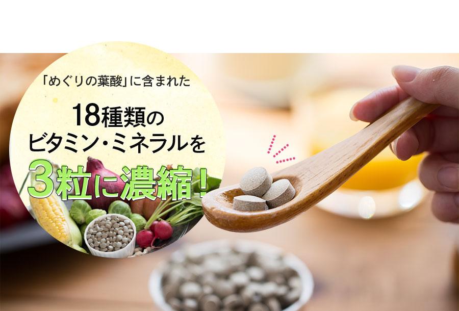 「めぐりの葉酸」に含まれた18種類のビタミン・ミネラルを3粒に濃縮!