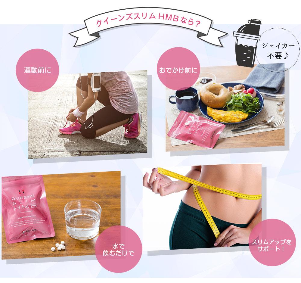 運動前に、おでかけ前に、水で飲むだけでスリムアップをサポート