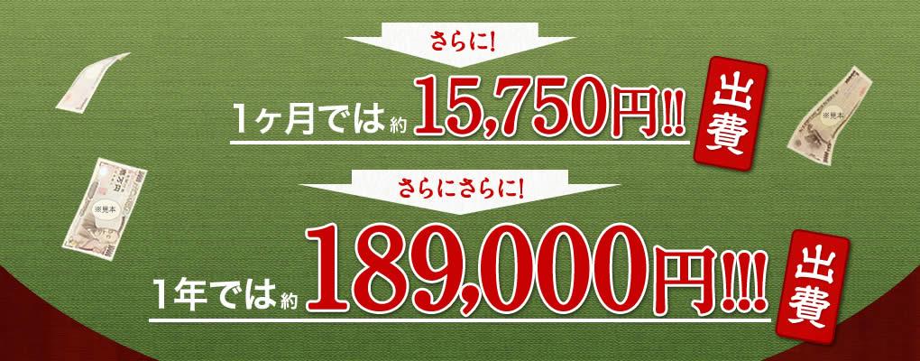 さらに1ヶ月では約15750円出費 さらにさらに1年では約189000円出費