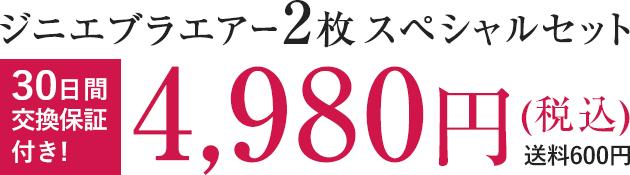 ジニエブラエアー2枚スペシャルセット 4,980円(税込) 送料600円 30日間交換保証付き!