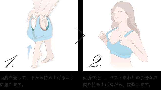 1.両脚を通して、下から持ち上げるように履きます。 2.両腕を通し、バストまわりの余分なお肉を持ち上げながら、調整します。