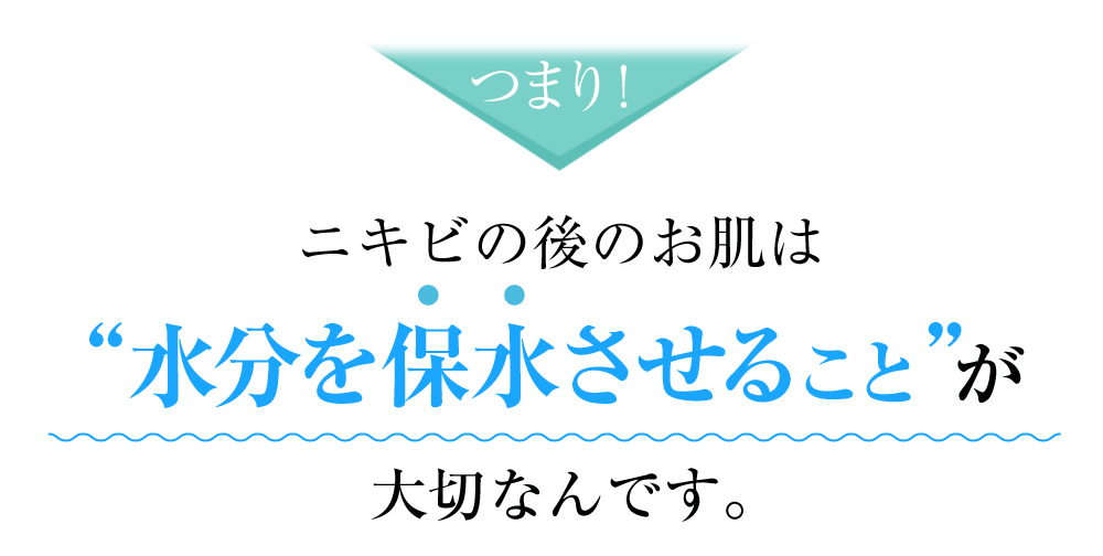 つまり、ニキビの後のお肌は、水分を保水させることが大切なんです。