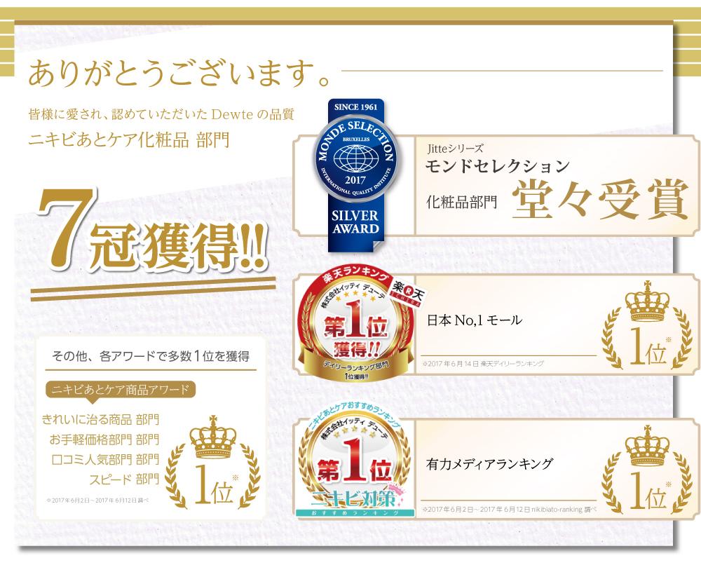ありがとうございます。皆様に愛され、認めていただいたDewteの品質 ニキビあとケア化粧品 部門 7冠獲得!