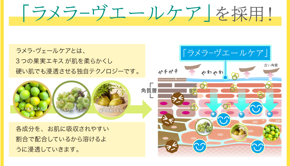 「ラメラ―ヴエールケア」を採用!!ラメラ-ヴェールケアとは、3つの果実エキスが肌を柔らかくし硬い肌でも浸透させる独自テクノロジーです。