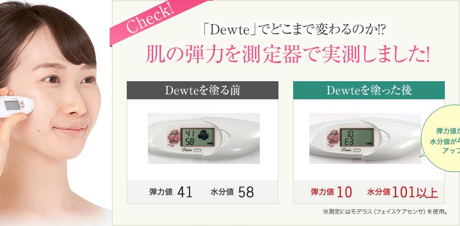 「Dewte」でどこまで変わるのか!?肌の弾力を測定器で実測しました!弾力値が00水分量が00もアップ!