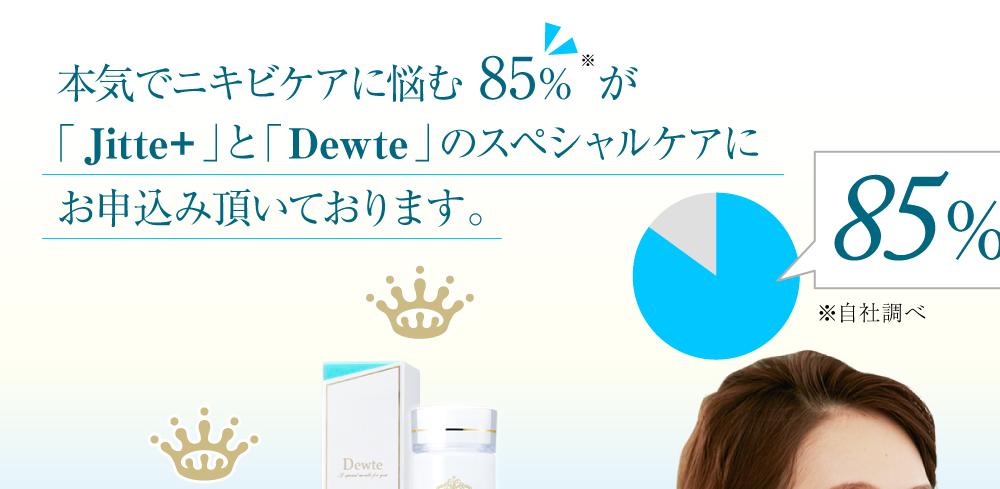 本気でニキビケアに悩む85%が「Jitte+」と「Dewte」のスペシャルケアにお申込み頂いております。