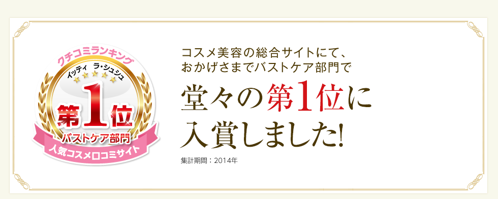 日本最大のコスメ美容の総合サイトにて おかげさまでバストケア・ヒップケア部門で堂々の第1位に入賞しました!