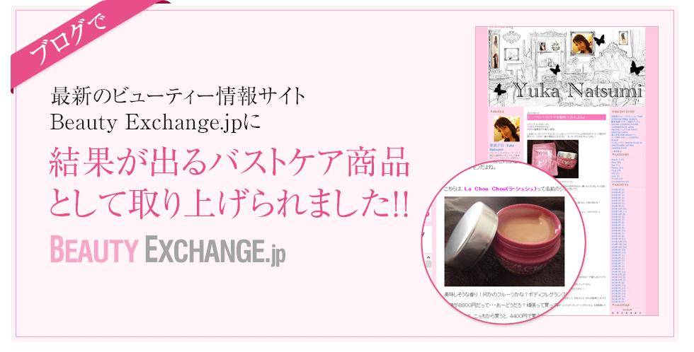 ブログで最新のビューティー情報サイト Beauty Exchange.jpに結果が出るバストケア商品として取り上げられました!!