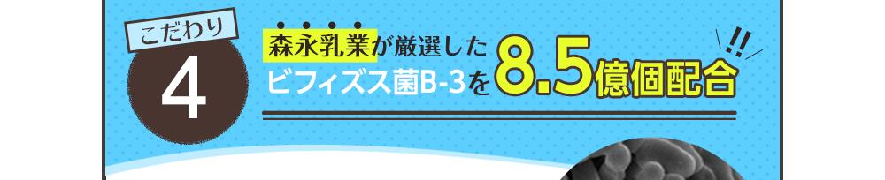 こだわり5 森永乳業が厳選したビフィズス菌B-3を8.5億個配合!!