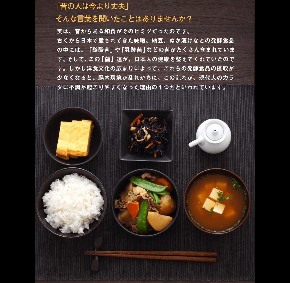 「昔の人は今より丈夫」そんな言葉を聞いたことはありませんか? 実は、昔からある和食がそのヒミツだったのです。古くから日本で愛されてきた味噌、納豆、ぬか漬けなどの発酵食品の中には、「酪酸菌」や「乳酸菌」などの菌がたくさん含まれています。そして、この「菌」達が、日本人の健康を整えてくれていたのです。しかし洋食文化の広まりによって、これらの発酵食品の摂取が少なくなると、腸内環境が乱れがちに。この乱れが、現代人のカラダに不調が起こりやすくなった理由の1つだといわれています。